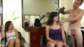 Sexual clients making headjob to a hairdresser
