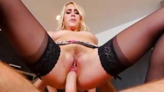 Look this gorgeous and steamy young blonde screwed by giant rod